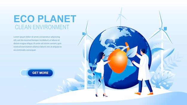 Pagina di destinazione piatta pianeta eco con intestazione, modello di banner.