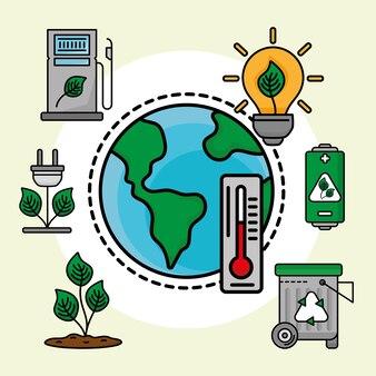 Eco pianeta e icone