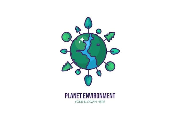 Modello di logo del pianeta eco. segno di protezione dell'ambiente. salva pianeta, acqua ed energia con alberi che crescono intorno alla terra. rimanere concetto ecologico e verde. illustrazione
