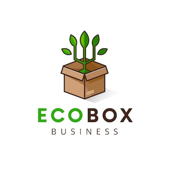 Modello di logo di scatola di pianta eco isolato su bianco