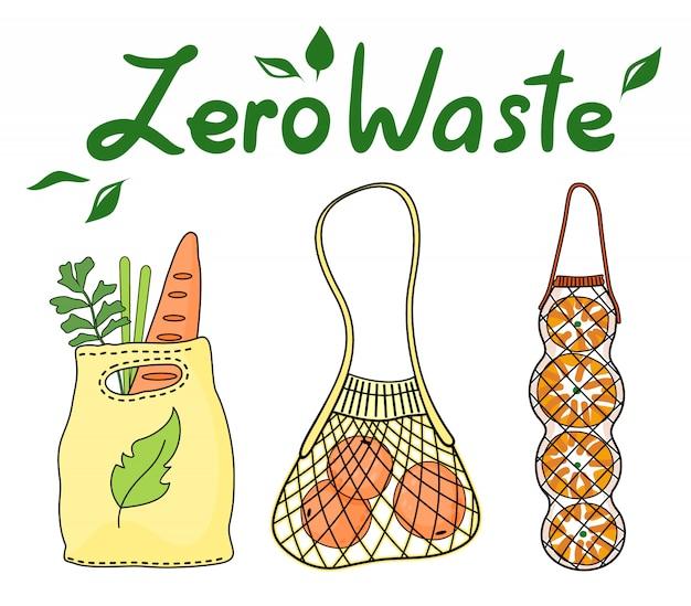 Poster ecologico con scritta zero rifiuti, utilizzando sacchetti tessili o di stringa per lo shopping, prodotti