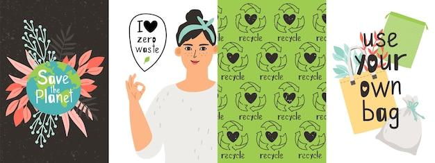 Manifesti ecologici. zero sprechi, ragazza positiva e oggetti riutilizzabili. cartelli di agitazione per andare al set vettoriale verde