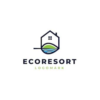 Logo del resort ecologico con illustrazione di montagne e laghi