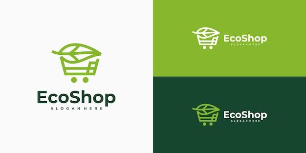 Design del logo del negozio ecologico, combinazione di carrello e foglia