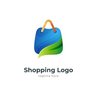 Modello di logo della borsa della spesa ecologica
