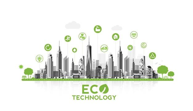 Tecnologia ecologica o concetto ambientale moderna città verde. stile di vita urbano ecologico con icone sulla connessione di rete. disegno vettoriale.