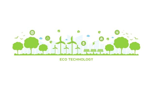 Tecnologia ecologica o concetto ambientale moderna città verde e foglie di piante che crescono all'interno