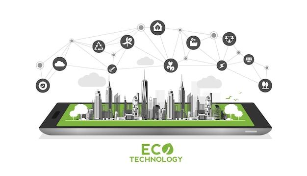 Tecnologia ecologica con telefono cellulare o concetto ambientale moderna città verde ecofriendly urban