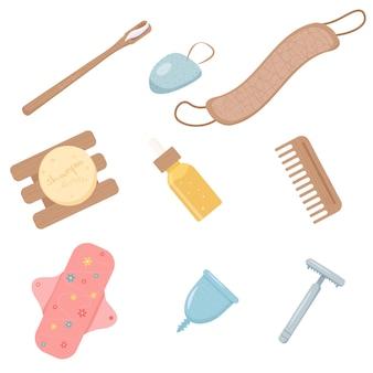 Cose ecologiche per l'igiene femminile. asciugamano, tampone riutilizzabile in tessuto, coppetta mestruale, spazzolino da denti in bambù e tamponi di cotone, spazzola per capelli in legno, spazzolino da denti, rasoio metallico, shampoo senza confezione in plastica, vetro.