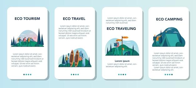 Set di banner per applicazioni mobili eco turismo ed eco itinerante. turismo ecologico nella natura selvaggia, hicking e canoa. turista con zaino e tenda. .