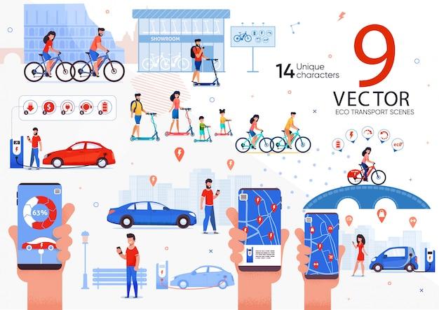Set di scene di trasporto ecologico per persone in città