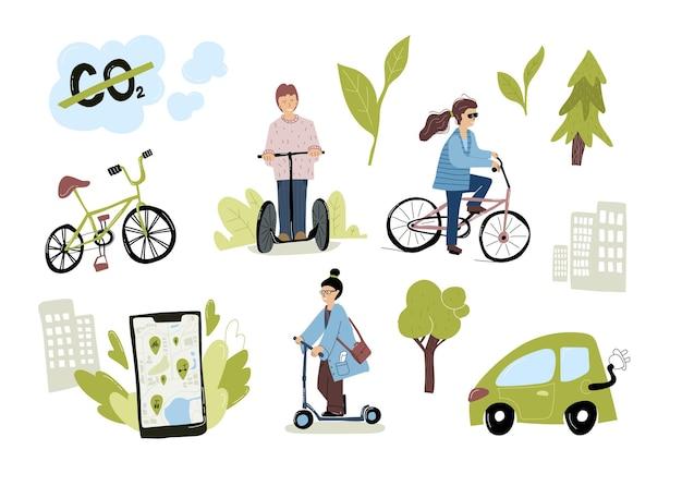 Set di trasporto urbano eco urbano. donna che guida scooter elettrico, biciclette, utilizzando l'app mobile del servizio di noleggio. persone che utilizzano il trasporto verde. concetto di ecologia. illustrazione vettoriale