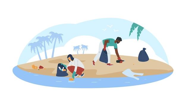 Volontari ecologici che fanno pulizia costiera piatta illustrazione vettoriale isolata