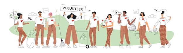 Eco volontari e concetto di volontariato raggruppa zero rifiuti e pensa ai giovani attivisti ecologici