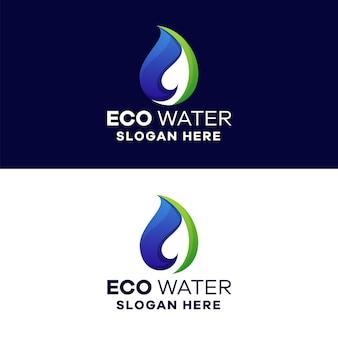 Modello logo eco water gradient