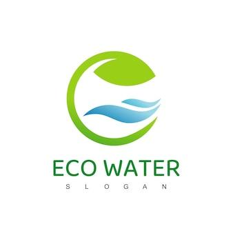 Logo dell'acqua ecologica, modello di progettazione del logo dell'acqua naturale e pura