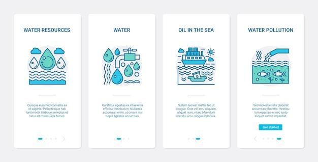 Problema di inquinamento idrico ecologico, ux delle risorse idriche, schermata della pagina dell'app mobile di onboarding dell'interfaccia utente
