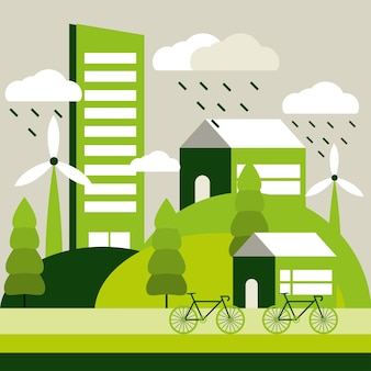 Vita ecologica in città Vettore Premium