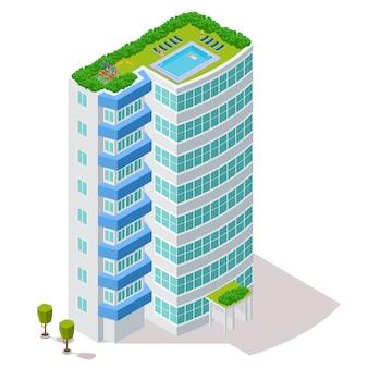 Concetto ecologico della costruzione dell'hotel con la zona di riposo e lo stagno sull'illustrazione del tetto