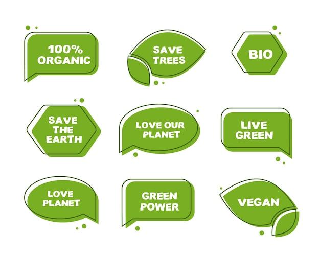 Adesivi verdi ecologici. illustrazioni eco tema di salvare il pianeta.