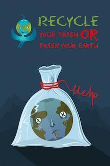 Illustrazione ecologica del pianeta terra che è soffocato in un sacchetto di plastica.