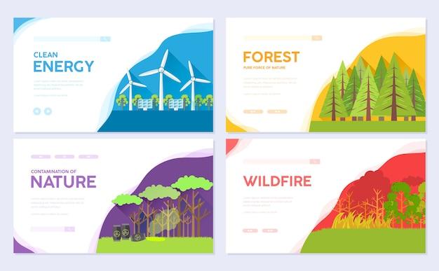 Modello ecologico sulla natura del modello di invito di flyear, banner web, intestazione dell'interfaccia utente, entrare nel sito.