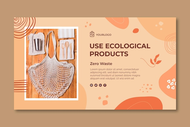 Modello di banner orizzontale di prodotti ecologici