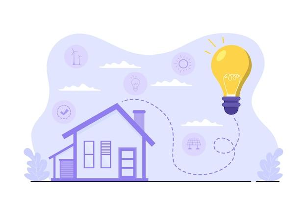 Fornitura di energia ecologica sostenibile sfondo piatto vettoriale illustrazione centrale elettrica edifici della stazione con pannelli solari, gas, geotermia, rinnovabili, acqua e turbine eoliche
