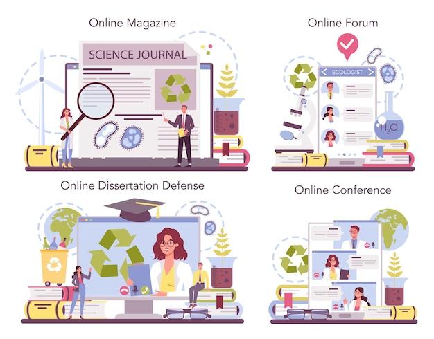 Servizio online ecologista o set di piattaforme. scienziato che si prende cura della natura e studia l'ambiente ecologico.
