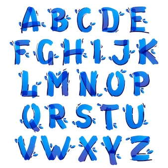 Alfabeto di ecologia con gocce d'acqua blu scritto a mano con un pennarello. il carattere dell'indicatore vettoriale può essere utilizzato per modelli ecologici, vegani, bio, crudi e organici.