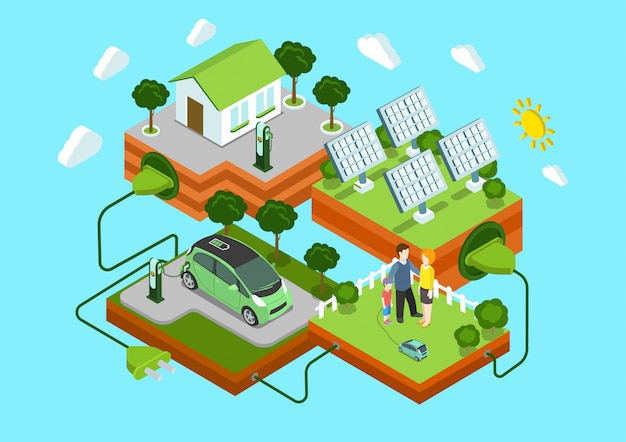 Concetto isometrico di ecologia alternativa eco energia verde stile di vita. casa della famiglia delle batterie solari dell'automobile elettrica sull'illustrazione verde del collegamento del cavo del prato inglese.