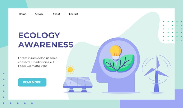 Lampadina di consapevolezza ecologica foglia in testa campagna di energia solare eolica per la pagina di destinazione della home page del sito web