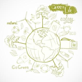 Priorità bassa di ecologia con gli elementi disegnati a mano
