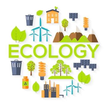 Concetto di modello di infographics del cerchio di ecologia