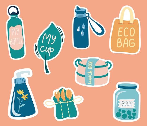 Collezione di adesivi colorati di ecologia. zero rifiuti. stile di vita ecologico. niente plastica.