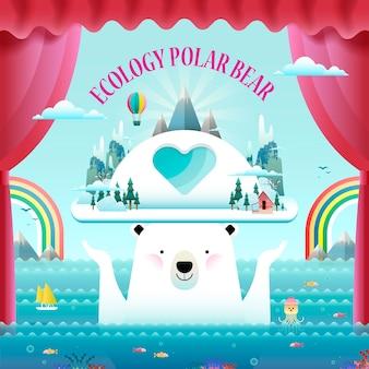 Concetto di ecologia, elementi ambientali con orso polare