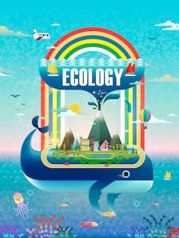 Concetto di ecologia, elementi ambientali con beccucci di balena