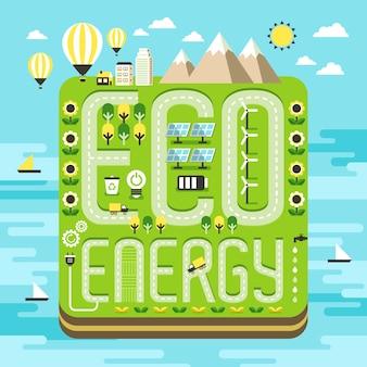 Concetto di ecologia, incantevole scenario dell'isola di energia ecologica