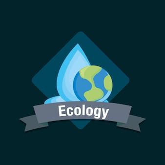 Design ecologico con goccia d'acqua e pianeta terra