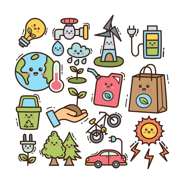 Illustrazione di scarabocchio di ecologia