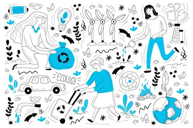 Insieme di doodle di ecologia