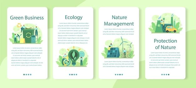 Ecologia o set di banner per applicazioni mobili aziendali eco-compatibili