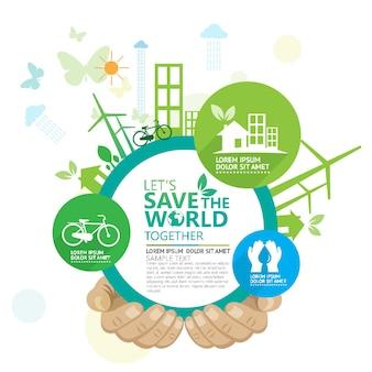 Ecologia e conservazione dell'ambiente idea creativa concept design
