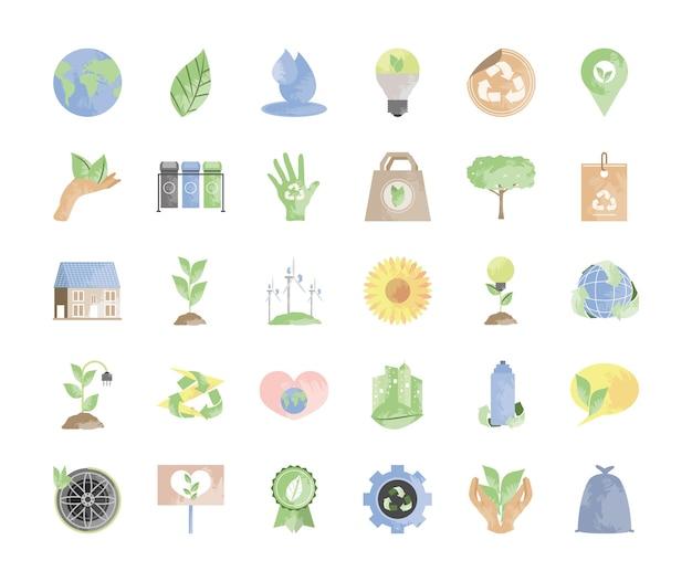 Set di icone di ecologia e ambiente