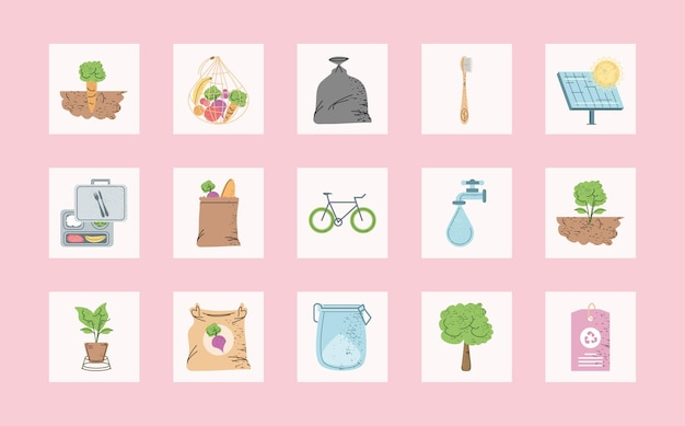 Icone di ecologia e ambiente