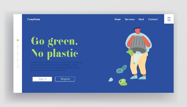 Pagina di destinazione del sito web di ecologia protezione dell'ambiente.