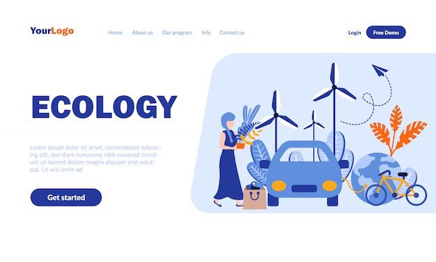 Modello di pagina di destinazione piatta ecologia con intestazione