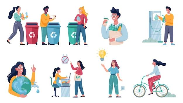 Set di abitudini amiche dell'ecologia. economia energetica e concetto di riciclaggio dei rifiuti. stile di vita ecologico.