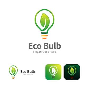 Modello di progettazione di logo di lampada a foglia verde ecologia