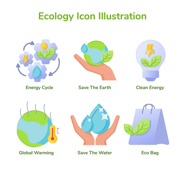 Ecologia icon set collection energy cycle save earth clean energy global warming